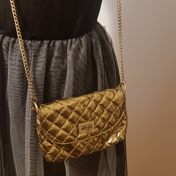 Pretty mini  quilted gold bag